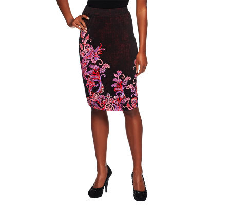 Bob Mackie's Jersey Knit Pull-on Placement Print Skirt