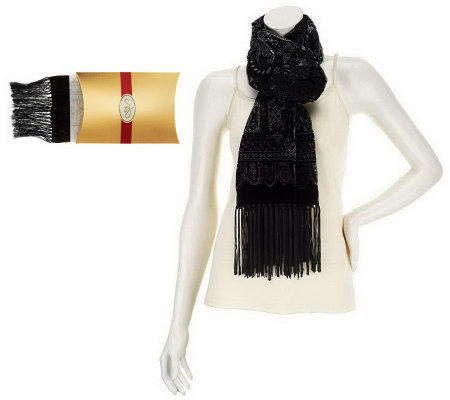 Susan Graver Metallic Flocked Velvet Scarf w/ Fringe and Gift Box