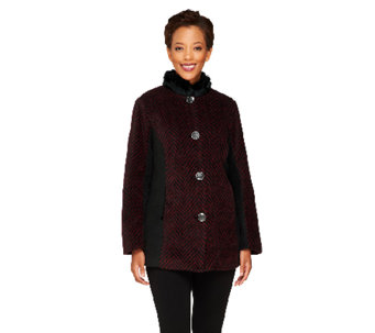 Bob Mackie's Color-Block Herringbone Coat w/ Faux Fur Collar - A238452