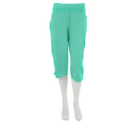 """As Is"" Susan Graver Solid French Terry Pull-on Capri Pants"