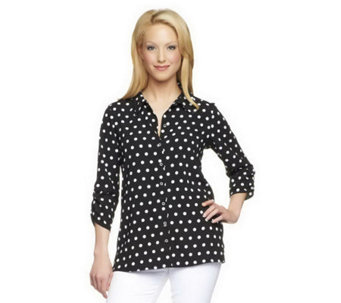 """As Is"" Susan Graver Cool Peach Polka Dot Shirt with Ruched Sleeves - A240252"