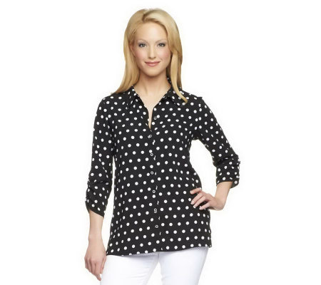 """As Is"" Susan Graver Cool Peach Polka Dot Shirt with Ruched Sleeves"