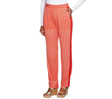 Susan Graver Heavy Liquid Knit Slim Leg Printed Pull-on Pants