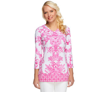 Linea by Louis Dell'Olio Printed V-Neck Tunic - A252352