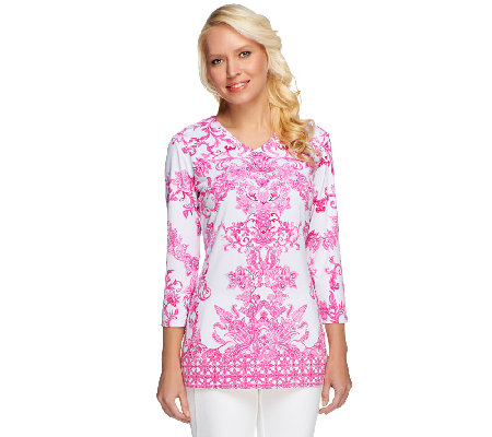 Linea by Louis Dell'Olio Printed V-Neck Tunic