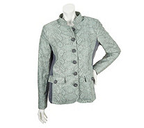 Dennis Basso Stand Collar Jacket with Ponte Knit Side Panel - A252552