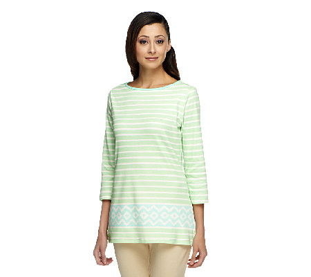 Liz Claiborne New York Striped Border Print Knit Tunic