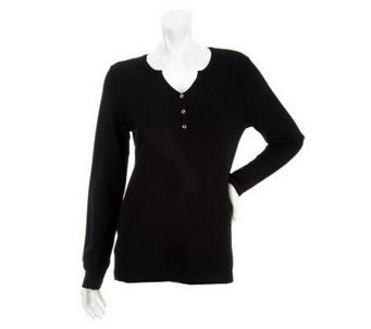 """As Is"" Susan Graver Essentials V-Neck Henley Sweater - A253452"
