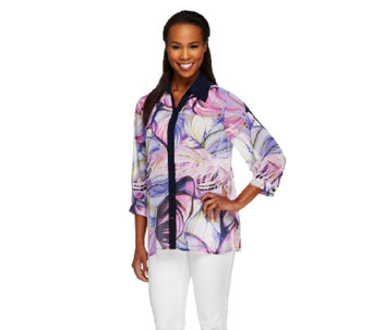 Susan Graver Printed Sheer Chiffon Button Front Blouse w/ Solid Trim - A254352