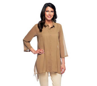 Linea by Louis Dell'Olio Button Front Asymmetric Hem Big Shirt - A254652