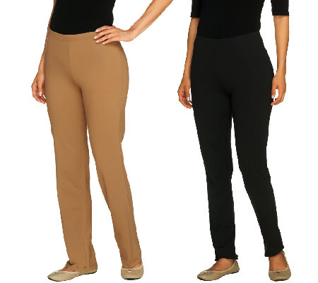 Women with Control Regular Set of 2 Slim Leg and Boot Cut Pants