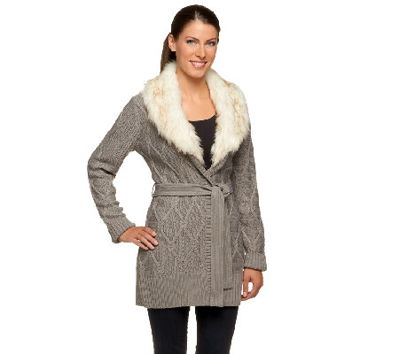 Dennis Basso Cardigan with Detachable Faux Fur Collar