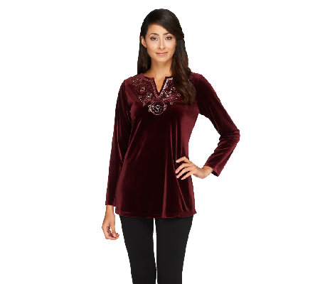 Susan Graver Stretch Velvet Tunic with Embellished Split V-neck