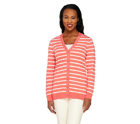Liz Claiborne New York Essentials Striped Long Sleeve Cardigan