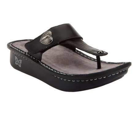 """As Is"" Alegria Carina Leather Thong Sandals with Unique Hardware Detail"