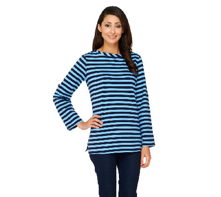 Susan Graver Weekend Striped French Terry Long Sleeve Top