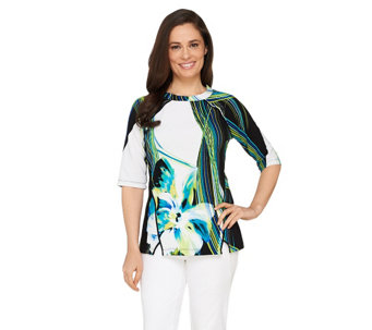 George Simonton Elbow Sleeve Printed Textured Knit Top - A262252