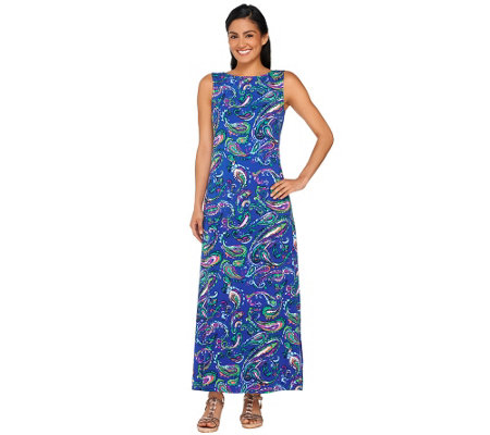 Liz Claiborne New York Petite Paisley Print Knit Maxi Dress