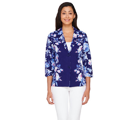 Isaac Mizrahi Live! Placed Floral Printed Knit Jacket