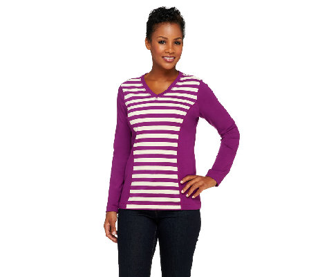 """As Is"" Denim & Co. Active Knit Stripe Front V-Neck Top"