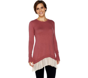 LOGO by Lori Goldstein Cotton Cashmere Sweater with Chiffon Trim - A266752