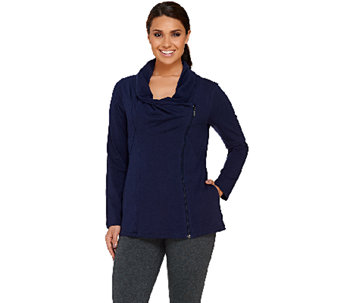 Denim & Co. Active Jersey Zip Front Drape Neck Jacket - A266852