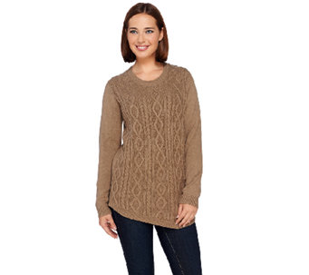 LOGO by Lori Goldstein Long Sleeve Cable Knit Sweater - A267852