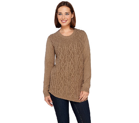 LOGO by Lori Goldstein Long Sleeve Cable Knit Sweater
