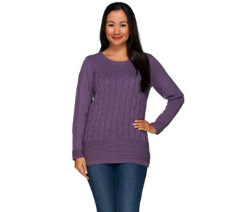 Denim & Co. Cable Knit Long Sleeve Crew Neck Pullover - A269352
