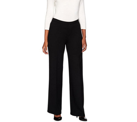 H by Halston Regular Ponte Knit Wide Leg Pants