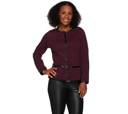 Isaac Mizrahi Live! Quilted Knit Jacket w/ Faux Leather Trim
