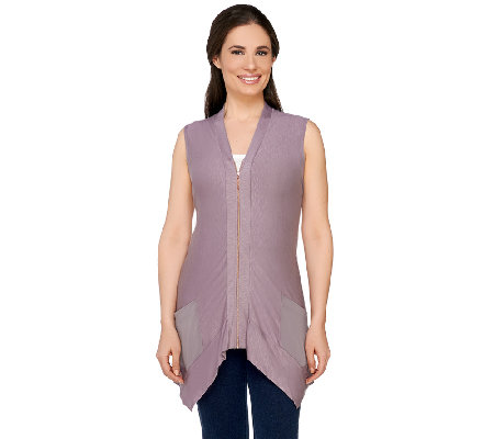 """As Is"" LOGO by Lori Goldstein Slub Knit Vest with Rose Gold Front Zip"