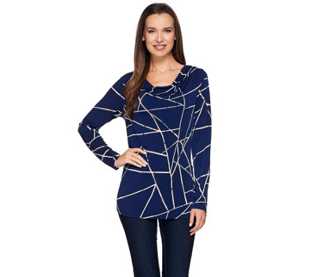 Susan Graver Printed Liquid Knit Drape Neck Top with Button Detail