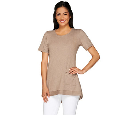 """As Is"" LOGO Lounge by Lori Goldstein Short Sleeve Top with Pocket Detail"