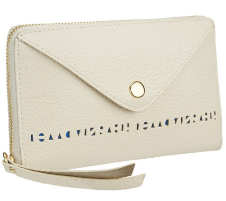 """As Is"" Isaac Mizrahi Live! Bridgehampton Perforated Leather Wallet"