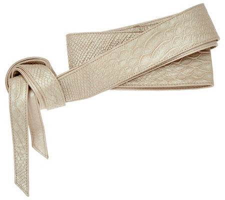 G.I.L.I Embossed Leather Reversible Obi Wrap Belt