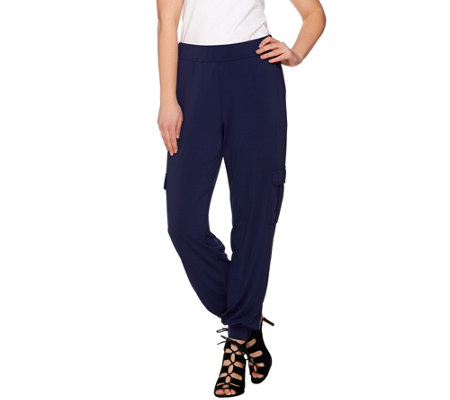 Lisa Rinna Collection Banded Bottom Jersey Knit Cargo Pants