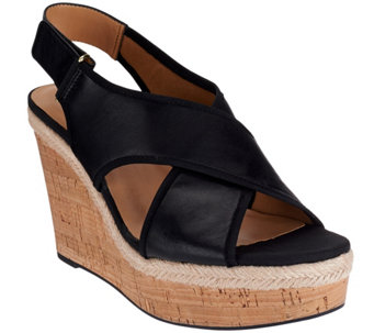 Franco Sarto Suede or Leather Slingback Strap Wedges - Taylor - A276052