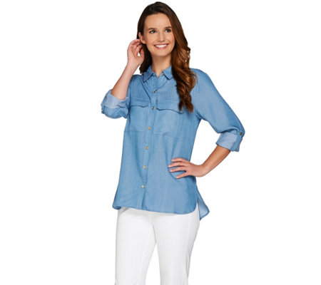 "C. Wonder Button Front Woven ""Carrie"" Blouse with Patch Pockets"