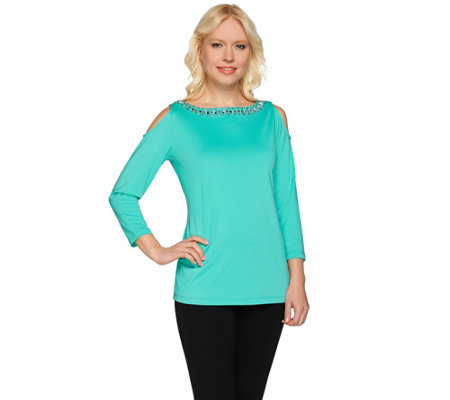 Susan Graver Artisan Embellished Butterknit Cold Shoulder Top
