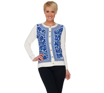 C. Wonder Printed Woven Front Knit Cardigan with Status Buttons - A277352