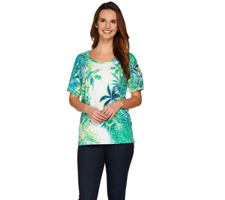 Studio By Denim & Co. Drop Shoulder Tropical Print Top