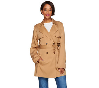 Isaac Mizrahi Live! Double Breasted Draped Trench Coat - A278852