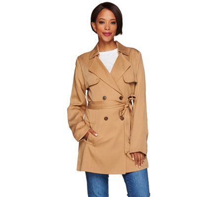 Isaac Mizrahi Live! Double Breasted Draped Trench Coat