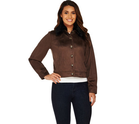 Lisa Rinna Collection Faux Suede Jacket with Faux Fur Collar