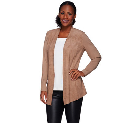 """As Is"" Susan Graver Ponte Knit Open Front Cardigan with Faux Suede"
