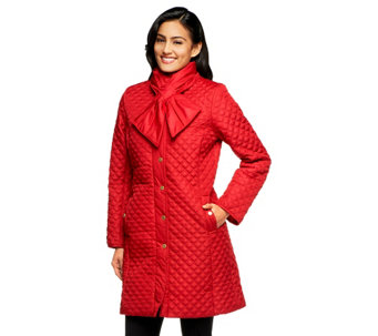 """As Is"" Isaac Mizrahi Live! Quilted Coat with Scarf - A280752"
