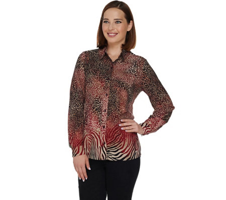 Susan Graver Printed Stretch Woven Button Front Big Shirt