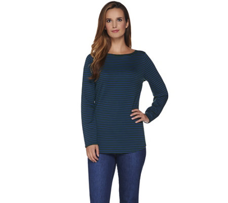C. Wonder Essentials Pima Cotton Solid or Striped Long Sleeve Top