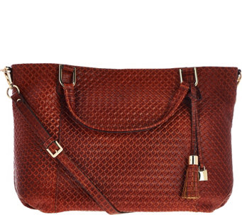 G.I.L.I. Italian Woven Embossed Leather Roma 4 Tote - A281852